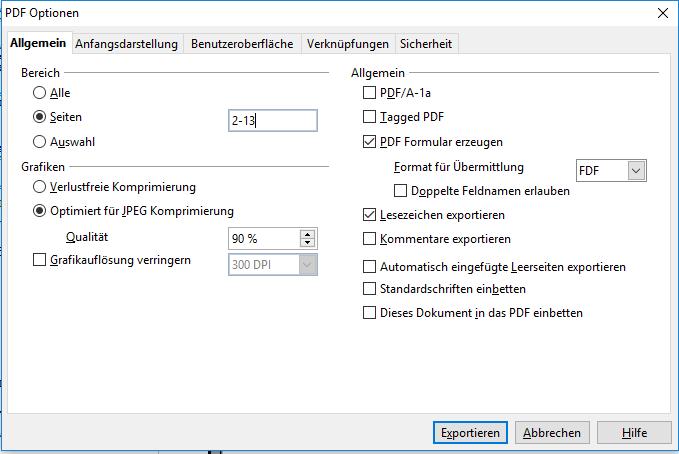 OO-Writer - Exportieren als PDF