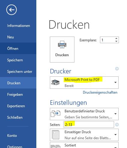 Word 2013 - Als PDF drucken