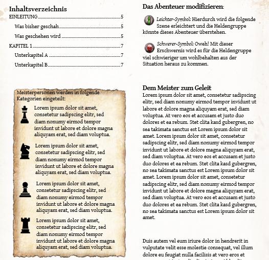 Scriptorium Aventuris Vorlage - Inhaltsseite