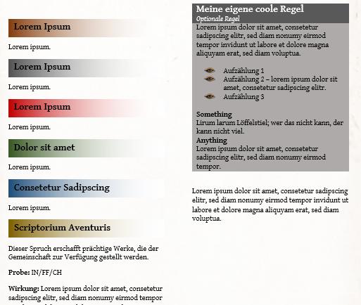Scriptorium Aventuris Vorlage - Seite für eigene Regeln